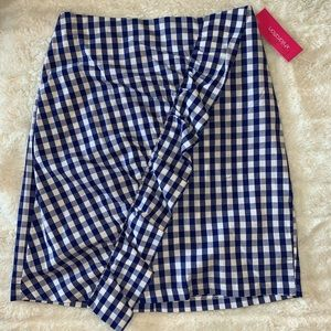Target Gingham Blue and White Ruffled Skirt